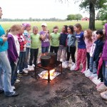 Celebrating Community Brownie Badge While Camping
