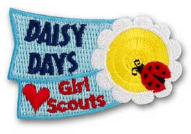 Get this patch on the Girl Scout website at https://www.girlscoutshop.com/Girl-Scout-Rule/DAISY-DAYS-IRON-ON-PATCH