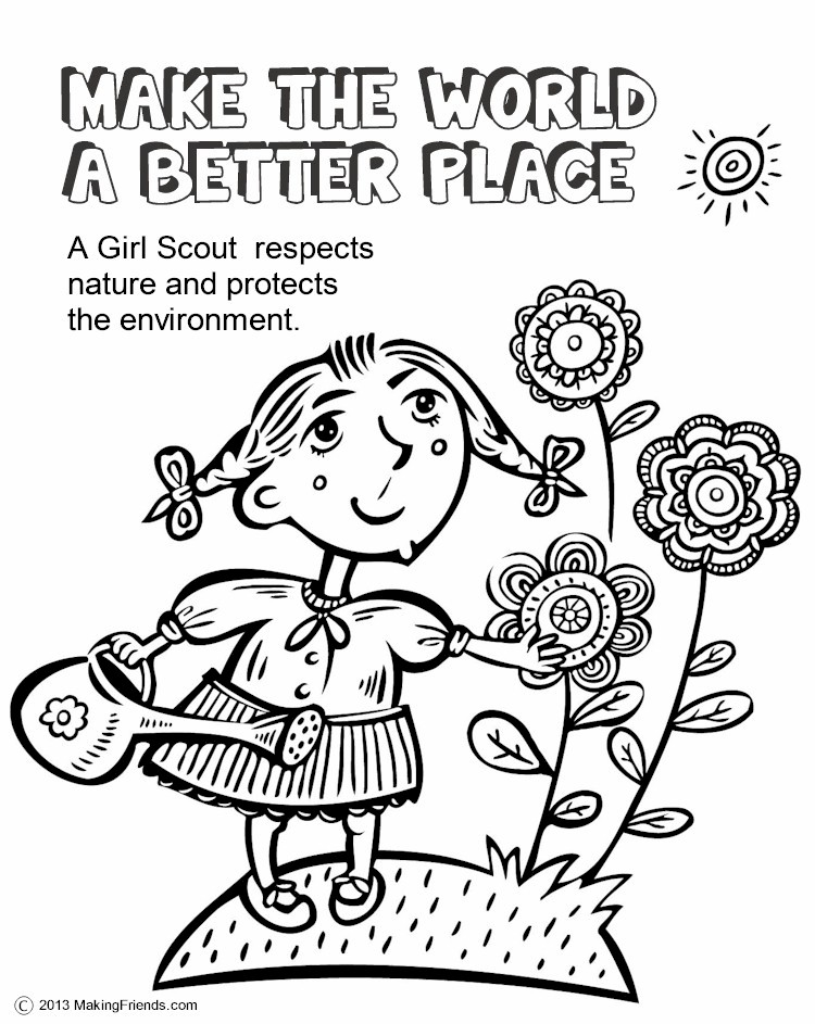 This is an image of Crazy Girl Scout Coloring
