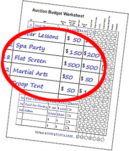 Cadette Budgeting Auction Worksheet