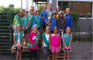 Scouts are International Travelers. Troop with a group of Canadian Girl Guides