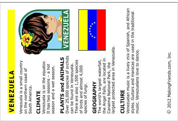 Venezula Fact Card
