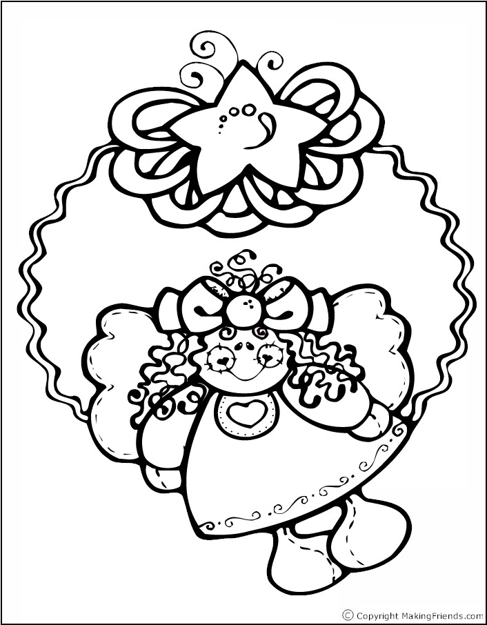 Christmas Wreath with Angel Coloring Page