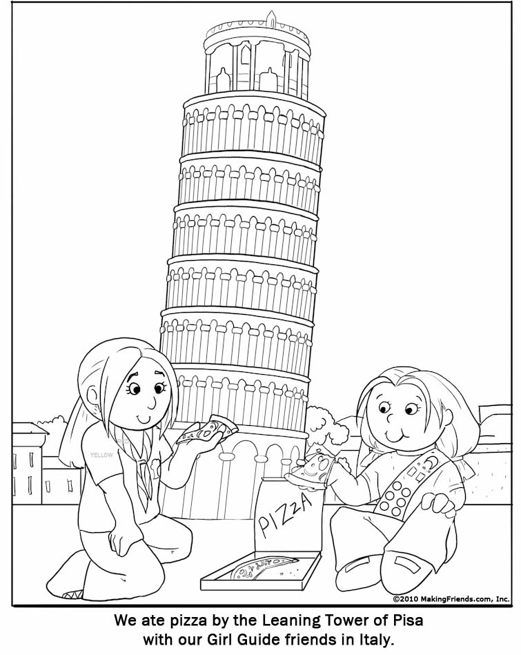 Italian Girl Guide Coloring Page - MakingFriendsMakingFriends