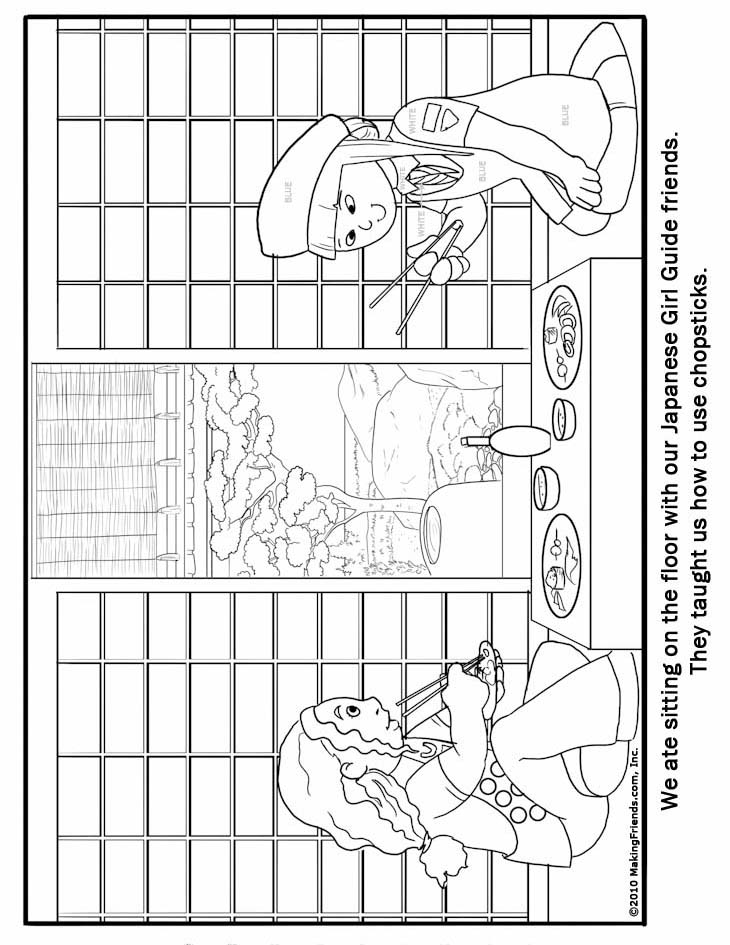 Japanese Girl Guide Coloring Page Makingfriends
