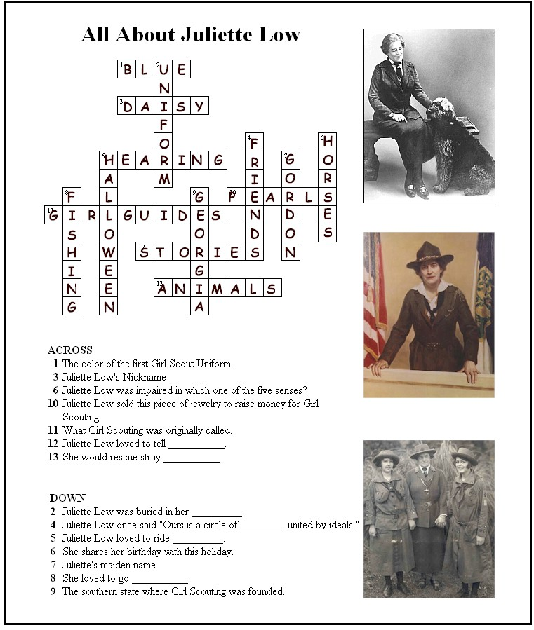 Answer Key for Juliette Low Crossword Puzzle - MakingFriends