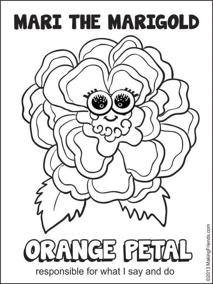 daisy petal coloring page orange petal mari the marigold makingfriendsmakingfriends