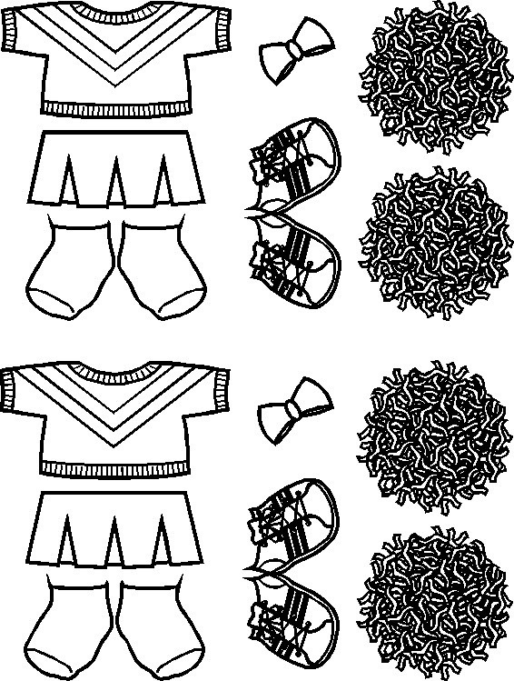 cheerleading paper doll friends outlines