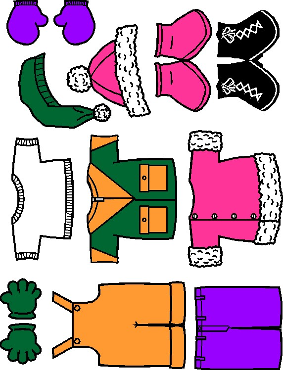 Winter paper doll friends colorful clothes for Froggy gets dressed template