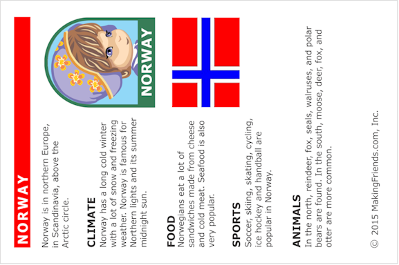 Norway Fact Card for Thinking Day