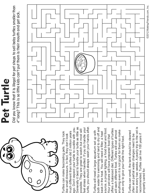 Pet Turtle Maze, Fact and Coloring Page