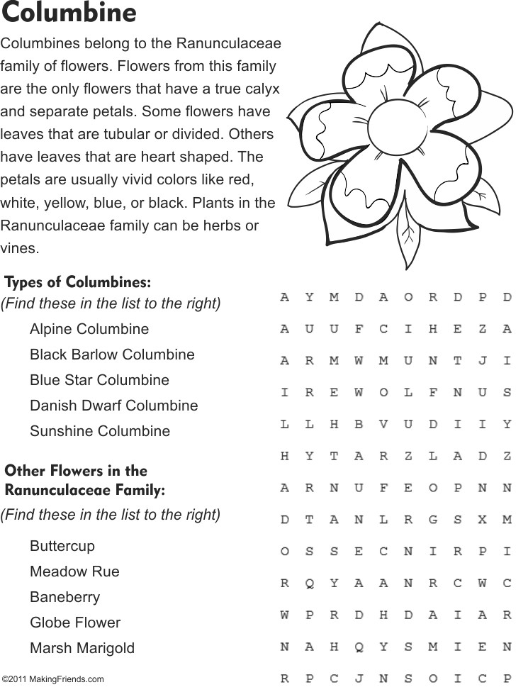 Columbine Word Search