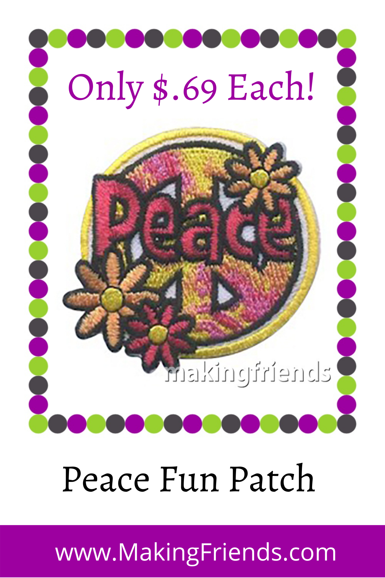 Teaching your group how to keep the peace or settle conflicts peacefully? The Peace patch is for you! $.69 each free shipping available #makingfriends #peace #peacefunpatch #funpatch #gsfunpatch #settleconflict #peacepatch #badges #peacebadge via @gsleader411