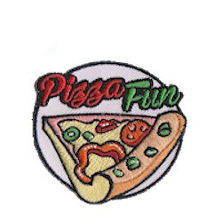 "Pizza Patch (circle). The ""Pizza Fun"" Patch from MakingFriends®.com is a great little keepsake for your pizza tour or pizza party. via @gsleader411"