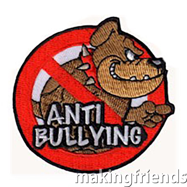 Anti Bullying Patch. Younger troops might want to have a guest speaker to talk to them about bullying. Older troops may choose to run an anti bullying campaign or event. However they choose to take on the subject of bullying, the Anti Bullying patch from MakingFriends®.com makes a great symbol that your scouts take a stand against bullying. via @gsleader411