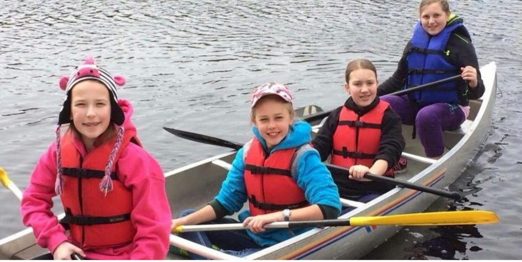 Cadette Girl Scouts Canoeing