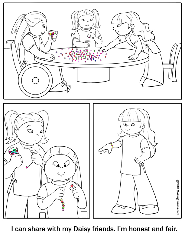 Coloring Page Honest and Fair MakingFriends