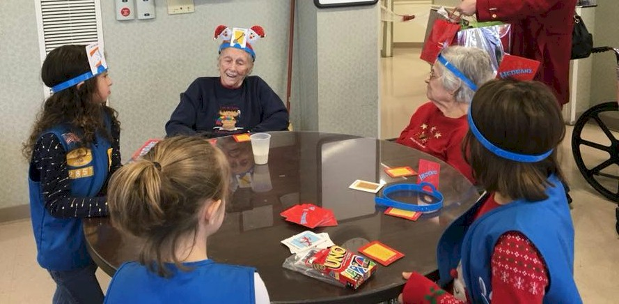 Daisy Girl Scouts visit assisted living center.