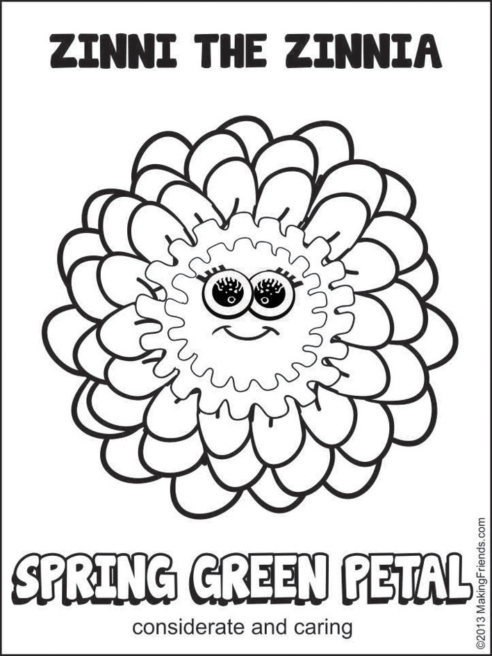 Zinni the zinnia coloring page coloring pages for Girl scout coloring pages for daisies