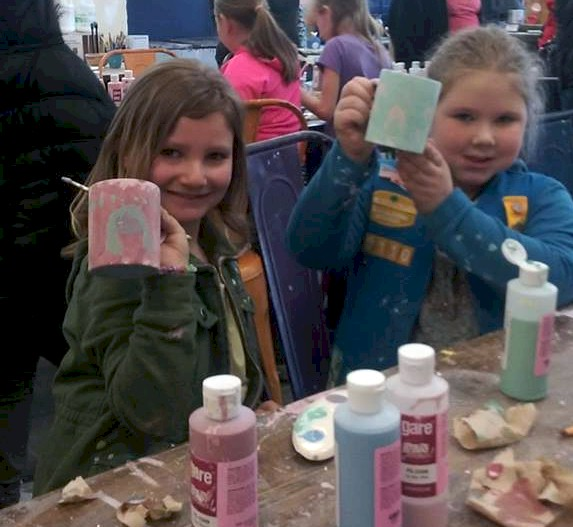 Daisy Girl Scouts Painting Pottery.