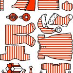 Christmas Paper Doll Friends- red on white