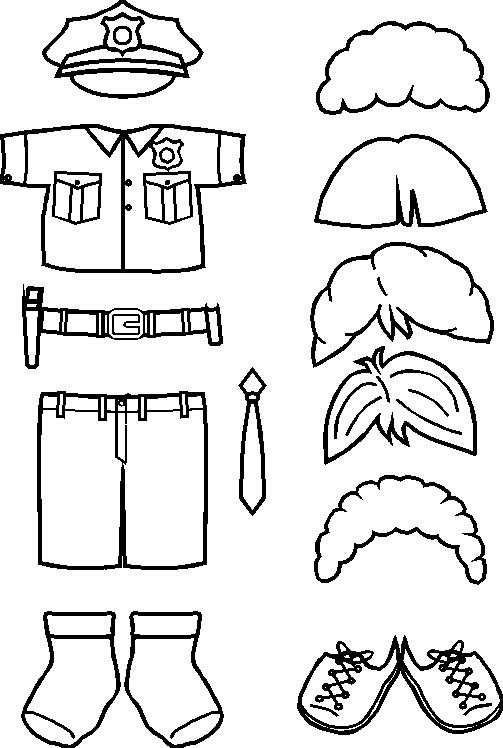 police paper doll friends outline