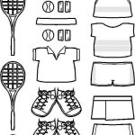 Tennis Paper Doll Friends outlines