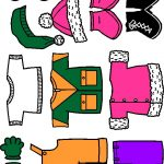 Winter Paper Doll Friends colorful clothes