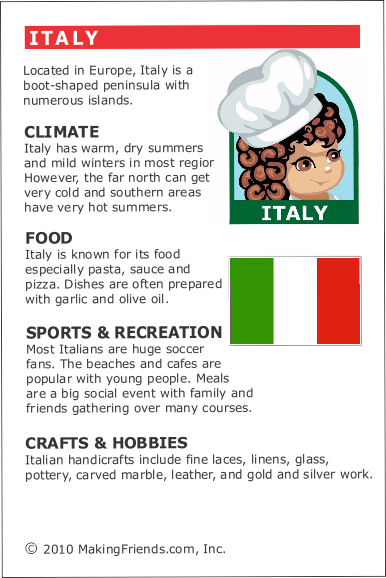 Facts about Italy. Italy Fact Card for your Girl Scout World Thinking Day or International celebration. Free printable available at MakingFriends.com. Fits perfectly in the World Thinking Passport, also available at MakingFriends.com. More ideas for your presentation: https://makingfriends.com/italy-world-thinking-day/ via @gsleader411