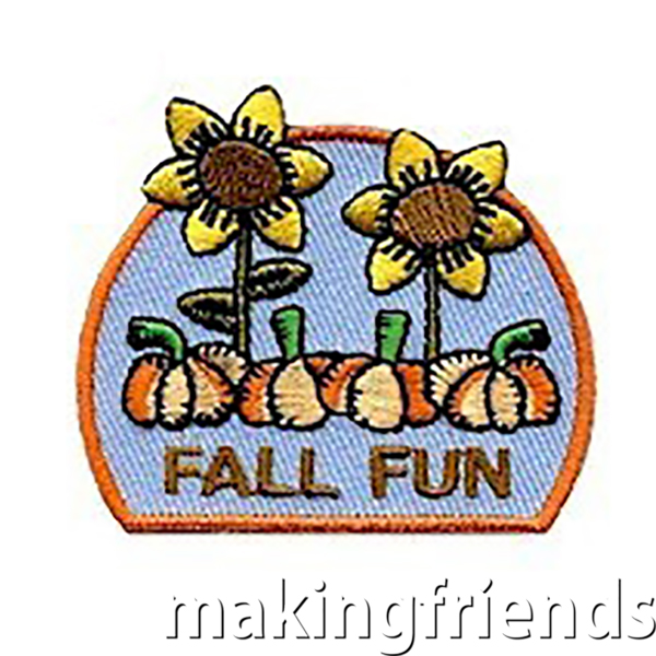 """The """"Fall Fun"""" Patch commemorates the change of seasons and the fun activities associated with it. Only $.69 each free shipping available #makingfriends #fall #fallfun #fallfunpatch #autumn #girlscoutsfunpatch #funpatch #girlscouts via @gsleader411"""