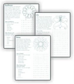 Flower Word Search Fact Sheets