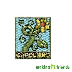 "Gardening Patch from MakingFriends®.com. Spring planting, Summer gardening and Fall picking are all great opportunities to learn about nature and where our food comes from. Have your group set up a small garden to experience the wonders of growing your own food. You can make the ""Gardening"" Patch a sign that your group knows how. #makingfriends #mf #scoutpatches #girlscouts #scouts #juliettescouts via @gsleader411"