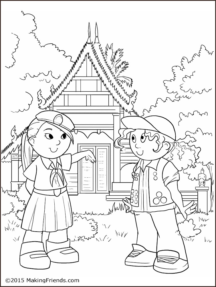 Girl Guide Coloring Page Thailand