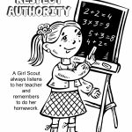 Girl Scout Law, Respect Authority Coloring Page