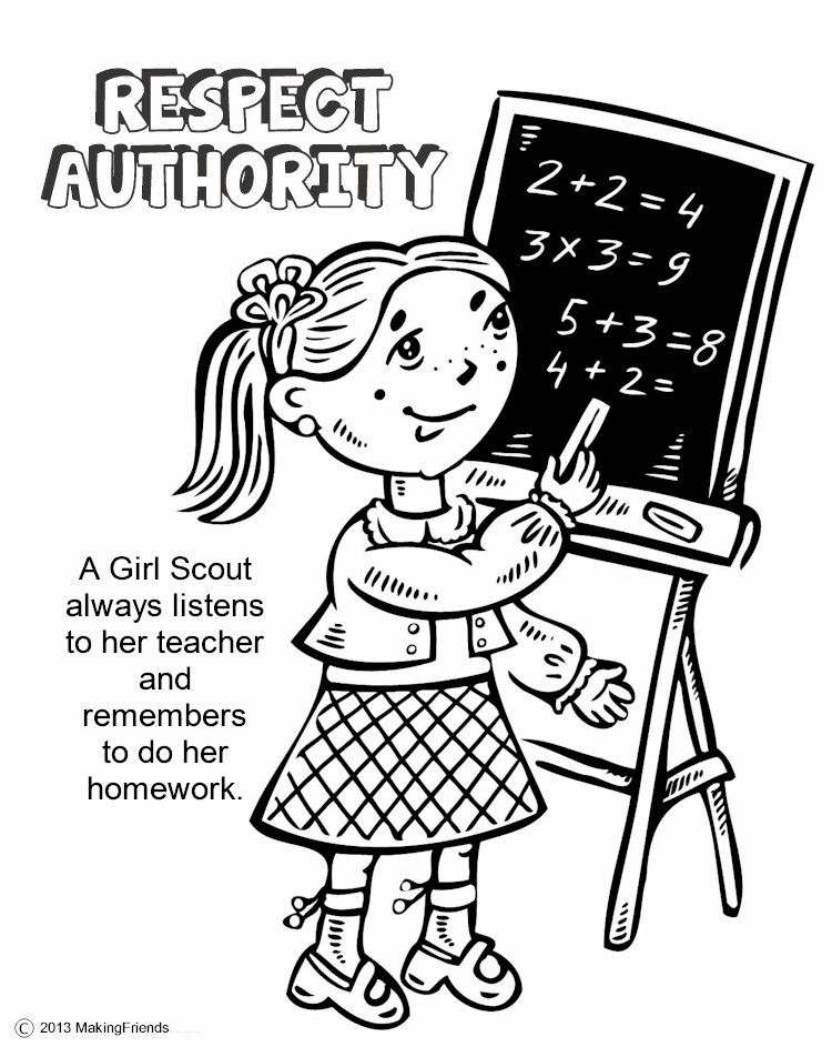 considerate and caring coloring page - law coloring book respect authority