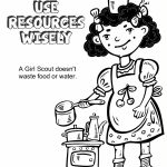 Girl Scout Law, Use Resources Wisely Coloring Page