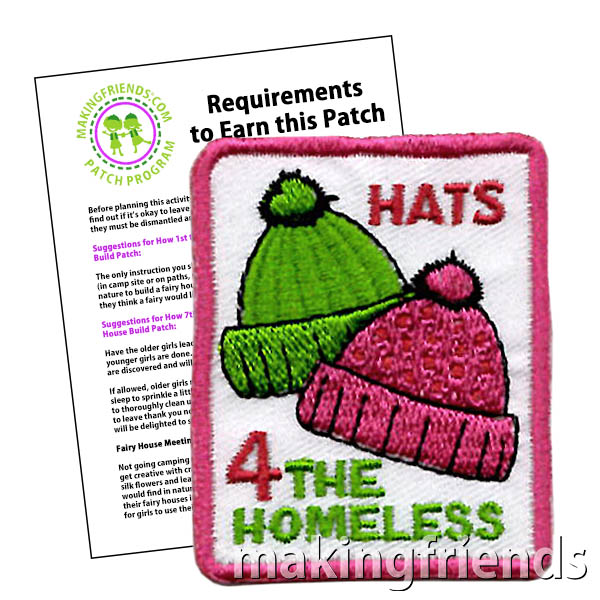 """Hats 4 the Homeless"" Service Patch to use with the ""Hats 4 the Homeless"" Service Program. Each patch is only $.69 with free shipping available! #makingfriends #patch #patchprogram #hats4thehomeless #giveback #donate #servicepatch via @gsleader411"