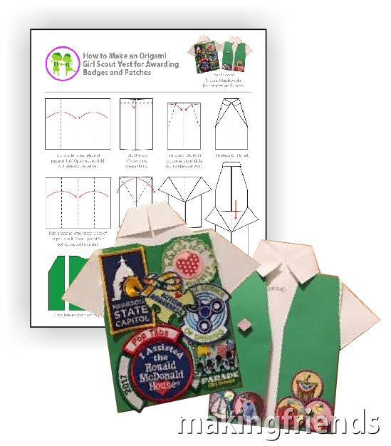Origami Shirt Download for Awarding Badges and Patches. Try this creative way to award your patches and badges to your Girl Scouts. #makingfriends #mf #tradition #crafts #diy #girlscouts #scouts #courtofawards #awardsceremony via @gsleader411