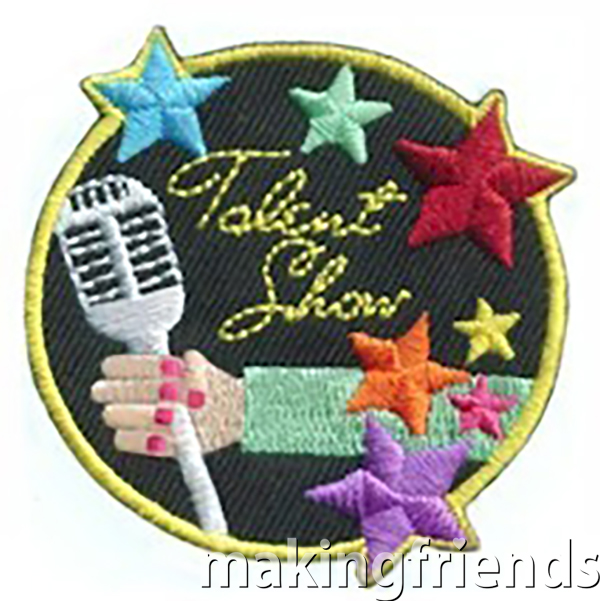 Each of your girls has a special talent. Give them each a chance to show it off and give our talent show patch as an award. #makingfriends #talentshowpatch #talentshow #girlscoutpatch #girlscouts #funpatches via @gsleader411