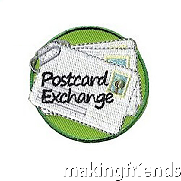 "Get your group involved with a Postcard Exchange and wear the ""Postcard Exchange"" Patch to proudly announce that you are reaching out to others. #friendshipswaps #swaps #girlscoutswaps #girlscouts #postcards #exchange via @gsleader411"