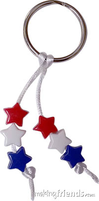 Patriotic Stars Key Ring Prepack. Red, white and blue star-shaped beads show your love of the USA. Great swapping pins for 4th of July, Veteran's Day, Memorial Day or any time. For community service, hand out during visit with veterans or at a parade. Each kit makes 120 key rings. Kits available at MakingFriends.com via @gsleader411