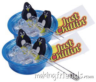 Just Chillin' Penguin Friendship Swap Kit. OMG! Aren't these the cutest? We used nail polish to paint the mini pool. You can also leave then clear or use paint pens or plastic paint. You'll also need your own low temp hot glue gun. Fun for summer, aquarium trips and international events. Penguins are found in the following WAGGGS countries: Argentina, Australia, Brazil, Chile, Ecuador. Namibia, New Zealand, Peru and South Africa Kit makes 30 and is available at MakingFriends®.com. via @gsleader411