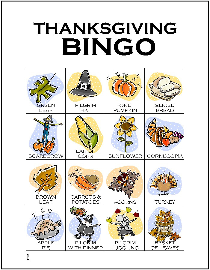 picture regarding Thanksgiving Bingo Printable titled Thanksgiving Bingo Card 1 - MakingFriends