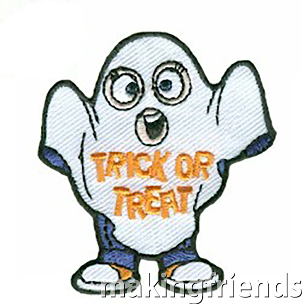 This cute little ghost won't scare anyone this Halloween but she sure will put a smile on your girls' faces after you take them trick or treating! #trickortreat #ghost #makingfriends #trickortreatpatch #girlscoutpatch #gspatches #halloween2020 #halloween #halloweenpatch via @gsleader411