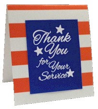 Veteran's Day Card Making Kit. Our top-quality kit makes 24 big 5.5″ cards. Add your message to the inside. These make wonderful tray favors to send to the V.A. hospital or send as cards to our active military. Available at MakingFriends®.com via @gsleader411