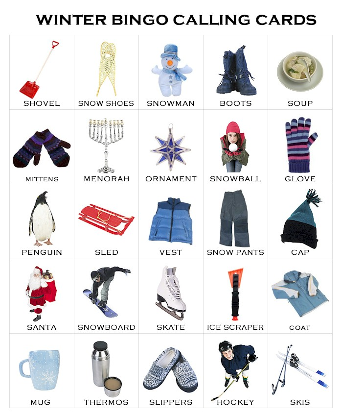 photograph relating to Winter Bingo Cards Free Printable titled Winter season Bingo - MakingFriends