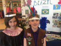 Costume idea from GSNMT Troop 10114 for Brazil for World Thinking Day.