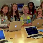 Cadette Troop 50419 earning their Digital Movie Maker Badge at the Apple Store.