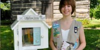 A Cadette Girl Scout from  Troop #41135 created a little free library in her community as part of her Silver Award project