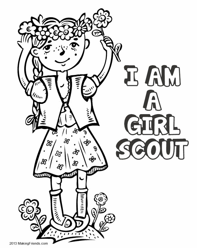 It's just a graphic of Bewitching Girl Scout Coloring